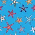 Marine Pattern with Starfish Stock Images