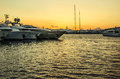 Marine port sunset Royalty Free Stock Photo