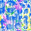 Marine print. Vector seashell seamless pattern. Hand drawn sketch