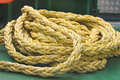 Marine rope on the deck of ship Stock Image