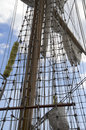Marine rope ladder on the sailing ship a old Royalty Free Stock Image