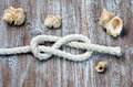 Marine rope tied knot Figure Eight Royalty Free Stock Photo