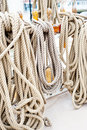 Marine ropes and tackles on the tall ship Royalty Free Stock Photos