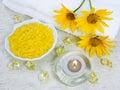 Marine salt for an aromatherapy Stock Image
