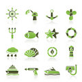 Marine and sea icons Stock Images