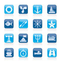 Marine and sea icons vector icon set Stock Photography