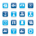 Marine, sea and nautical icons Stock Photography