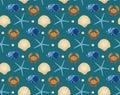 Marine seamless pattern, cartoon style. Underwater world, sea life infinite background. Starfish, shell, fishes
