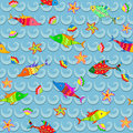 Marine seamless pattern coloured with fish seastar and shell Royalty Free Stock Image