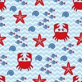 Marine seamless pattern with crab, starfish, shell and fish. Sea and wave theme