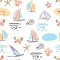 Marine-seamless-pattern-with-crab-stock-vector-illustration