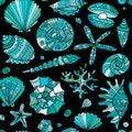 Marine seamless pattern, ornate seashells for your design