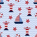 Marine seamless pattern with ship, starfish, lighthouse and lifebuoy. Sea and wave theme