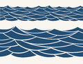 Marine seamless pattern with stylized blue waves on a light background