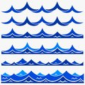 Marine seamless pattern with stylized blue waves on a light background. Water Wave sea ocean abstract vector design art