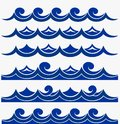 Marine seamless pattern with stylized blue waves on a light background. Water Wave sea ocean abstract vector design art Royalty Free Stock Photo