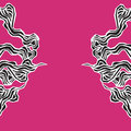 Marine seamless pattern with stylized waves on a pink background. Water Wave abstract design. Black seaweed stylized.