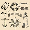 Marine set. Vector nautical elements. Hand sketched sea illustrations. Maritime design collection. Naval drawing series. Royalty Free Stock Photo