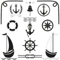 Marine silhouette icons set. Black sign of nautical. Vector.