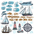 Marine Sketch Set Royalty Free Stock Photo