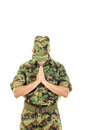 Marine soldier officer praying in military uniform combatant for peace with head bowed Royalty Free Stock Photos