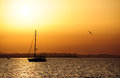 Marine sunset landscape sailing boat and seagull at over the sea Stock Photo