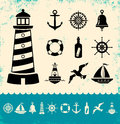 Marine symbols illustration of set icons Stock Photos
