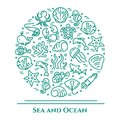 Marine theme aquamarine and white banner. Pictograms of fish, shell, crab, shark, dolphin, turtle, other sea creatures