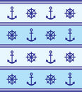 Marine theme background blue anchor rudder and Royalty Free Stock Photo