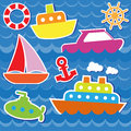 Marine transport stickers Royalty Free Stock Photo