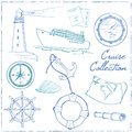 Marine and vacation  doodles elements background. Royalty Free Stock Photo