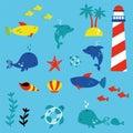 Marinelife children style illustration set Royalty Free Stock Photo