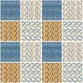 Mariner Mosaic Tile Seamless Vector Pattern. Variegated Geometric Abstract Square Background Graphic. Trendy Modern Geo All Over
