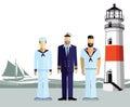 Mariners Stood On A Coastline