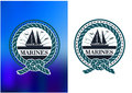 Marines circle emblem logo in retro style cretro nautical or for battalion command or club with sailboat on horizon sunlight Stock Photos