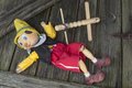 Marionette old wooden pinocchio toy Stock Photos