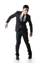 Marionette pose asian business man isolated on white Royalty Free Stock Photos