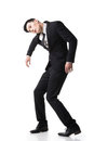 Marionette pose asian business man isolated on white Stock Photography
