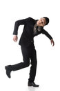Marionette pose asian business man isolated on white Royalty Free Stock Images