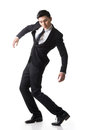 Marionette pose asian business man isolated on white Stock Photo