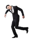 Marionette pose asian business man isolated on white Stock Image