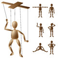 Marionette puppet set made from wood in different positions Stock Photo