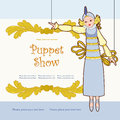 Marionette theater poster with doll Stock Image