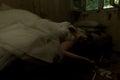 Marital crime dead bride in creepy devastated room Royalty Free Stock Images