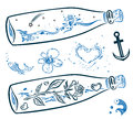 Maritime bottles fish colorful vector set anchor and Royalty Free Stock Images