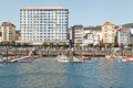 Maritime city small shipping dock fishing boats residential flats located ribeira galicia spain Stock Photo