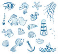 Maritime fish mussel colorful vector set and Stock Photography