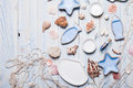 The maritime style table setting in on a blue wooden background Royalty Free Stock Photography