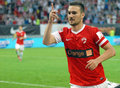Marius alexe of dinamo bucharest s striker celebrates a goal scored during a football game Stock Image