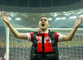 Marius alexe of dinamo bucharest s striker celebrates a victory Stock Image